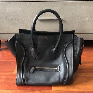 Celine Smooth Calfskin Mini Luggage Black